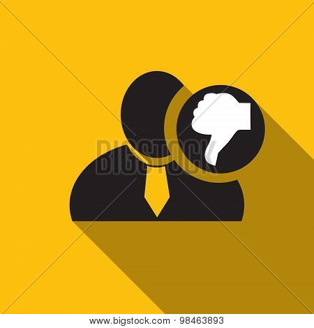 Thumb Down Black Man Silhouette Icon On The Yellow Background, Long Shadow Flat Design Icon For Foru