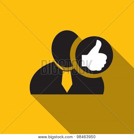 Thumb Up Black Man Silhouette Icon On The Yellow Background, Long Shadow Flat Design Icon For Forums