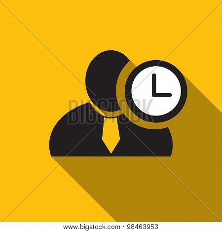 Clock Black Man Silhouette Icon On The Yellow Background, Long Shadow Flat Design Icon For Forums Or