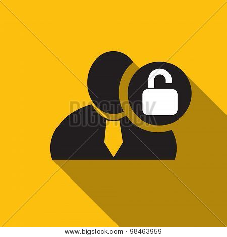 Unlock Black Man Silhouette Icon On The Yellow Background, Long Shadow Flat Design Icon For Forums O