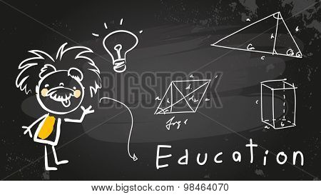 Einstein kid, child student at school. Chalk on blackboard educational vector doodle, sketch.