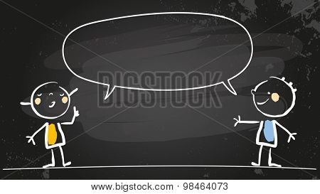 Happy girl and boy speaking a message, with blank speech balloon. Doodle style hand drawn illustration, chalk on blackboard vector line art. Communication concept.