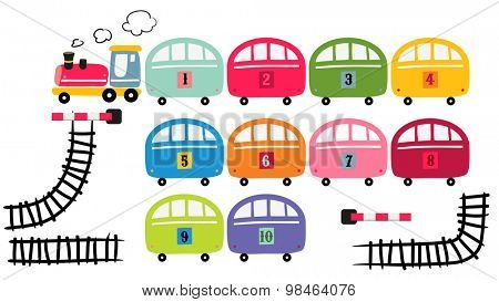 Toy train set, vector cartoon illustration, railway track.