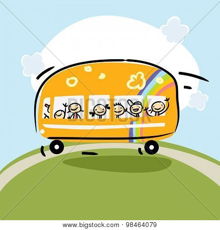 School bus, preschool kids transportation vector illustration. Cartoon style.