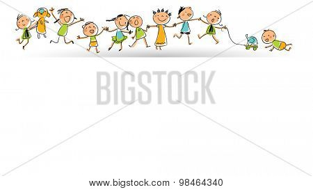 Happy smiling kids group in a row; children playing with toys. Hand drawn stick figures style, line art vector illustration.