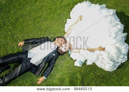 Newlyweds On Lawn