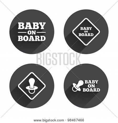 Baby on board icons. Infant caution signs.