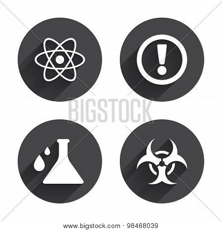 Attention biohazard icons. Chemistry flask.