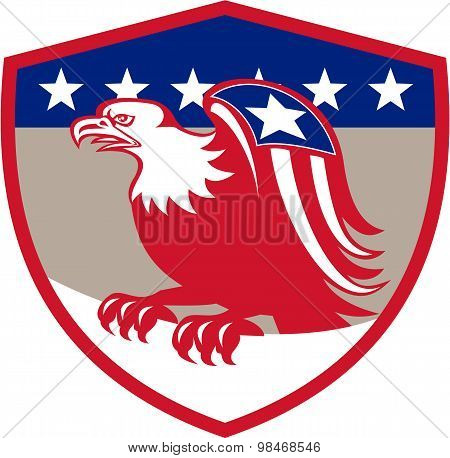 American Eagle Flag Wings Perching Crest Retro