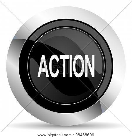action icon, black chrome button