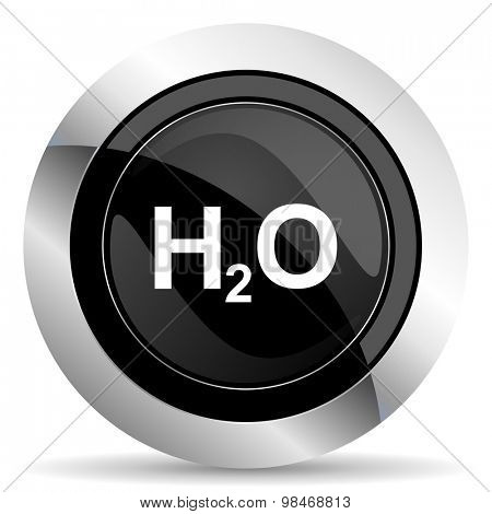 water icon, black chrome button, h2o sign