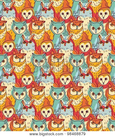 Group owl color seamless pattern