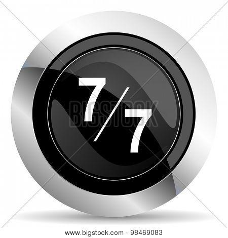 7 per 7 icon, black chrome button
