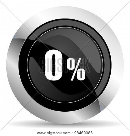 0 percent icon, black chrome button, sale sign