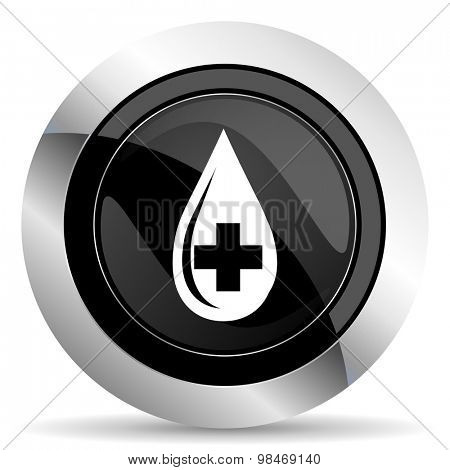 blood icon, black chrome button