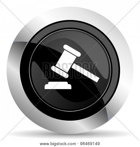 auction icon, black chrome button, court sign, verdict symbol