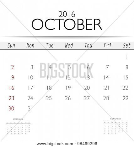 2016 calendar, monthly calendar template for October. Vector illustration.