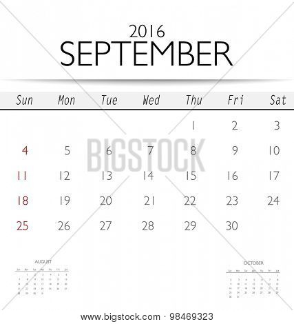 2016 calendar, monthly calendar template for September. Vector illustration.