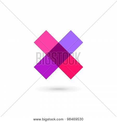 Letter X Cross Mosaic Logo Icon Design Template Elements
