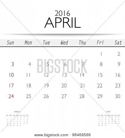 2016 calendar, monthly calendar template for April. Vector illustration.