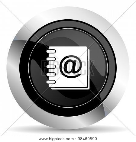 address book icon, black chrome button