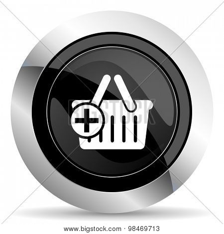 cart icon, black chrome button, shopping cart symbol