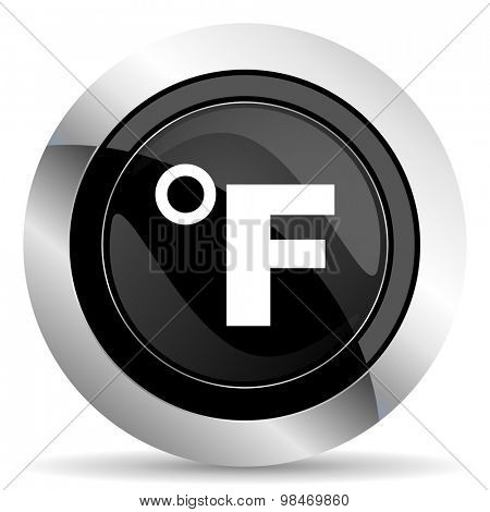 fahrenheit icon, black chrome button, temperature unit sign