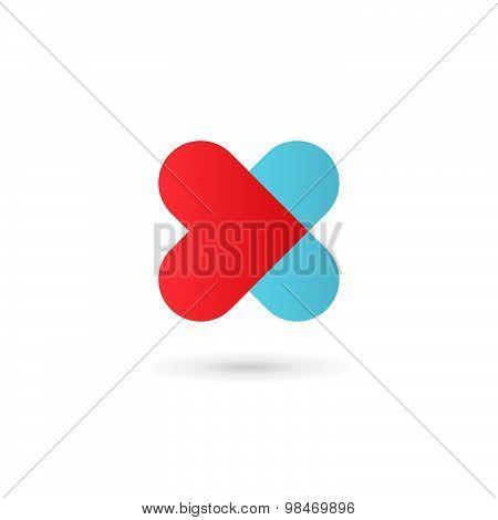 Letter X Heart Logo Icon Design Template Elements