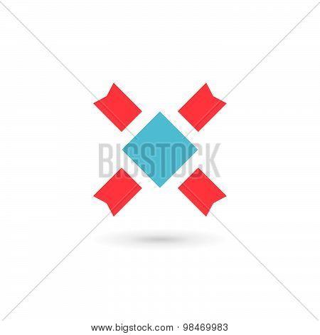Letter X Heraldic Logo Icon Design Template Elements