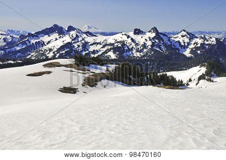 Alpine scene in the North Cascades with Mount Rainier
