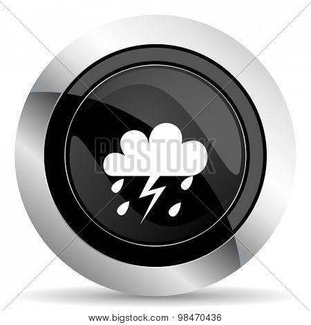 storm icon, black chrome button, weather forecast sign