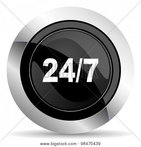 24/7 icon, black chrome button