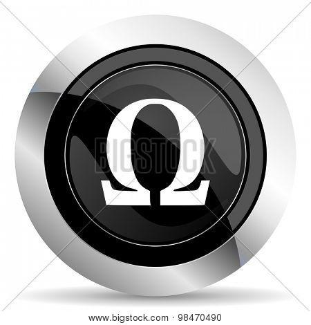 omega icon, black chrome button