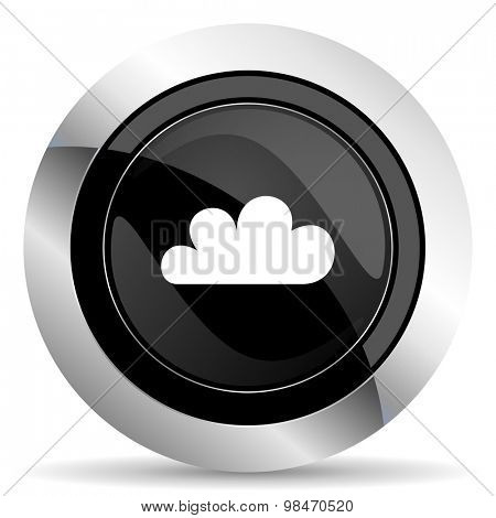 cloud icon, black chrome button, weather forecast sign