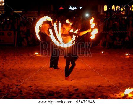 Fire swirls.