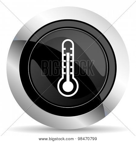 thermometer icon, black chrome button, temperature sign