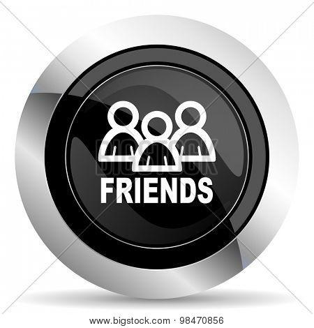 friends icon, black chrome button