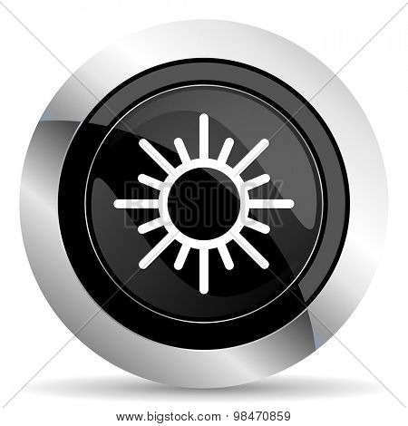 sun icon, black chrome button, weather forecast sign