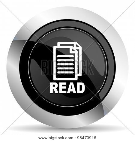 read icon, black chrome button