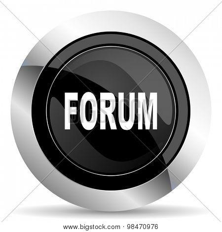 forum icon, black chrome button