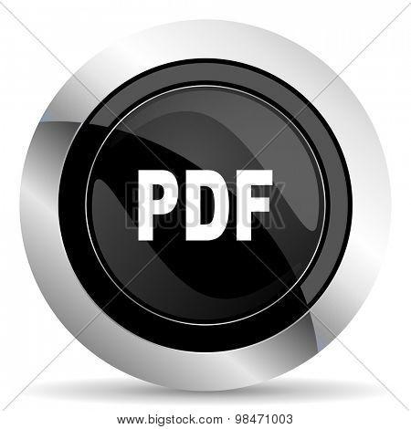 pdf icon, black chrome button