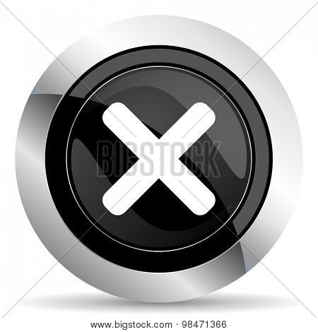 cancel icon, black chrome button, x sign