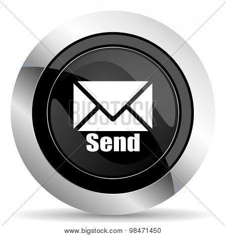 send icon, black chrome button, post sign