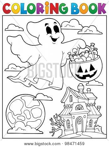 Coloring book ghost theme 5 - eps10 vector illustration.