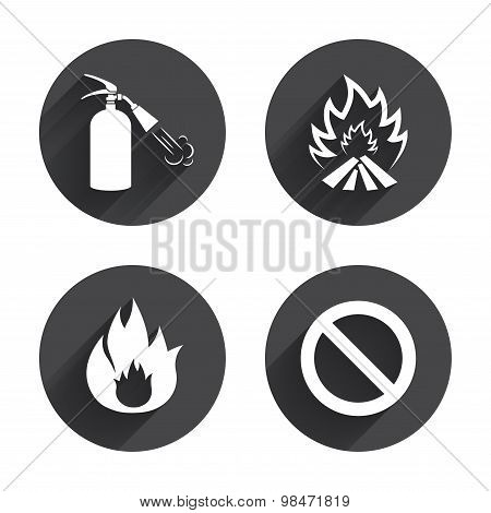 Fire flame icons. Prohibition stop symbol.