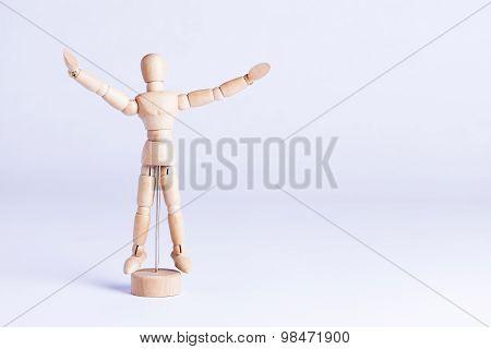 Wooden Mannekin On White Background