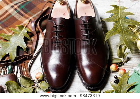 Featuring Typical Male Clothing and Accessories fashionable male brogue shoes