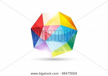 Vector globe abstract logo template. Tetrahedron 3d shape and globe symbol, geometric icon, triangle
