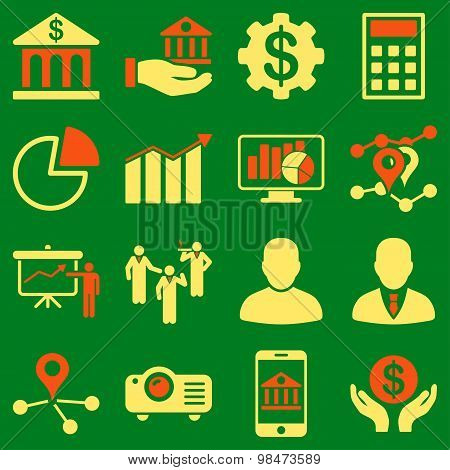 Banking business and presentation symbols.