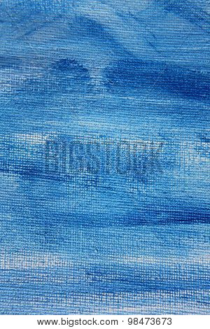 Abstract Blue Watercolor on Canvas 5